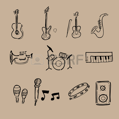 450x450 Music Instruments Drawing Icons Set Royalty Free Cliparts, Vectors