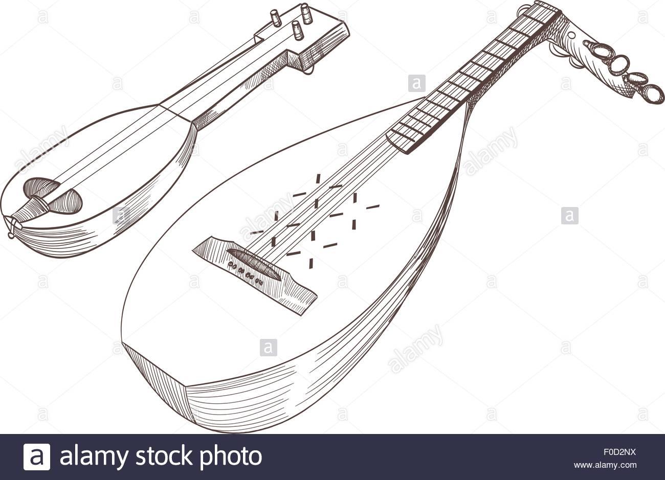1300x939 Cobza Musical Stringed Instruments Drawing Stock Vector Art