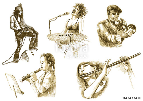 500x354 Musicians With Musical Instruments,drawings Converted To Vector