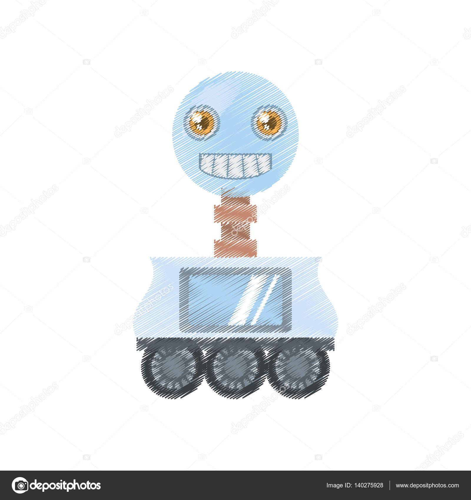 1600x1700 Drawing Arificial Intelligence Robotic Smiling Screen Stock