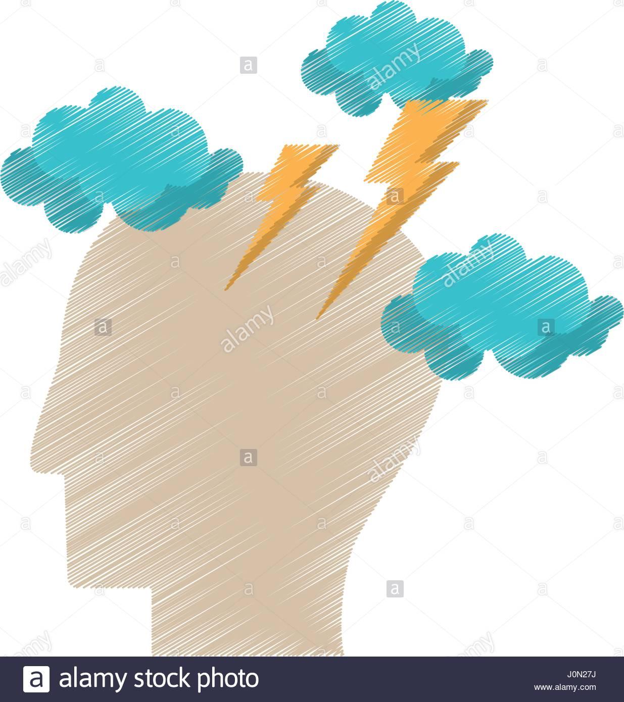 1235x1390 Drawing Profile Head Brainstorm Intelligence Stock Vector Art