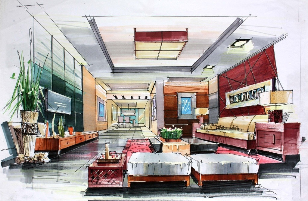 1023x670 Interior Design Drawing Drawings
