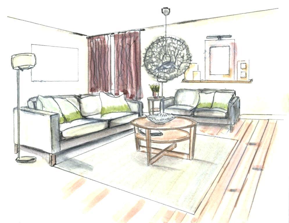 995x768 Interior Design Drawing Living Room