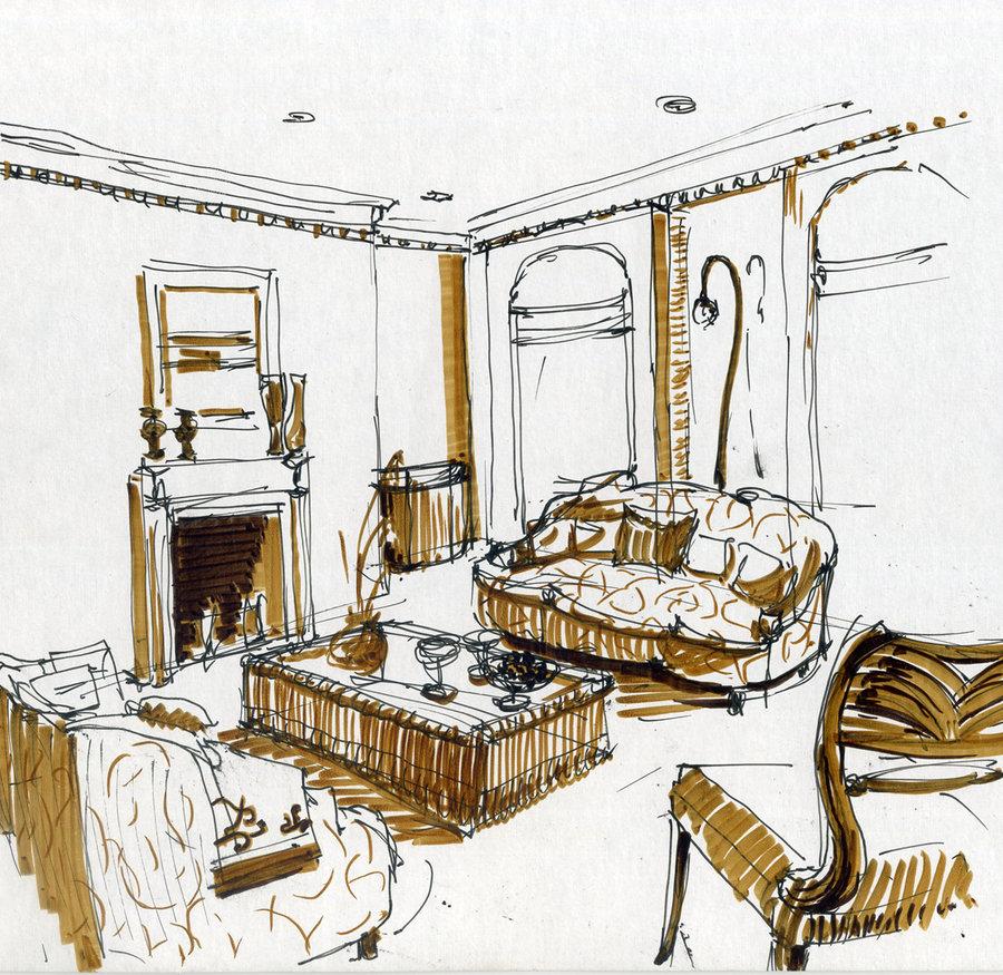 900x875 Interior Drawing By Hardcorish