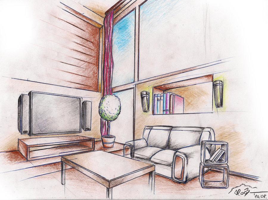 900x671 interior drawing 1 by sloeb on deviantart - Draw Interior Design