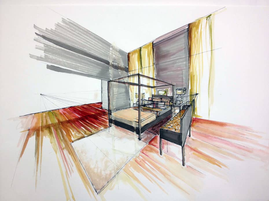 930x697 Free Hand Drawing Interior Design Freehand Perspective Drawing