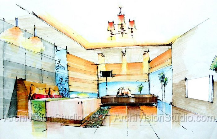 700x449 Beautiful Interior Design Drawings Perspective Pictures