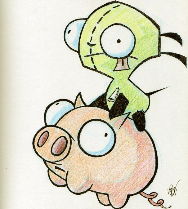 606x674 Gir And Pig D Invader Zim Invader Zim