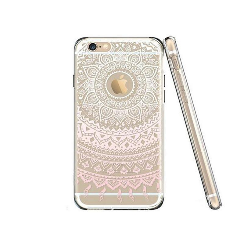 800x800 For Iphone 7 Plus Tpu Mandala Flower Drawing Pattern Clear Phone