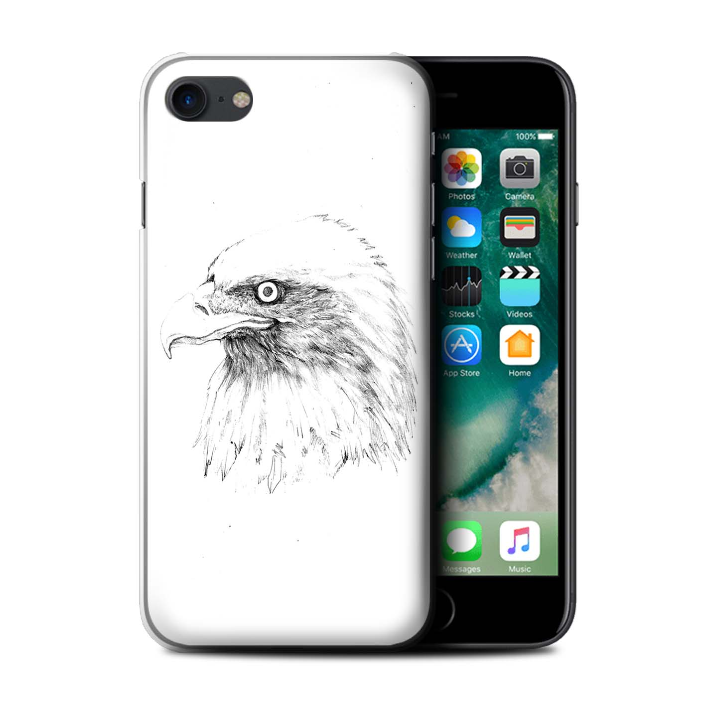 1417x1417 Stuff4 Back Casecoverskin For Apple Iphone 7sketch Drawing Ebay