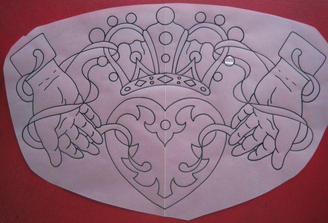 657x447 Irish Street Tattoo Claddagh Drawing. Old School Style. Claddagh
