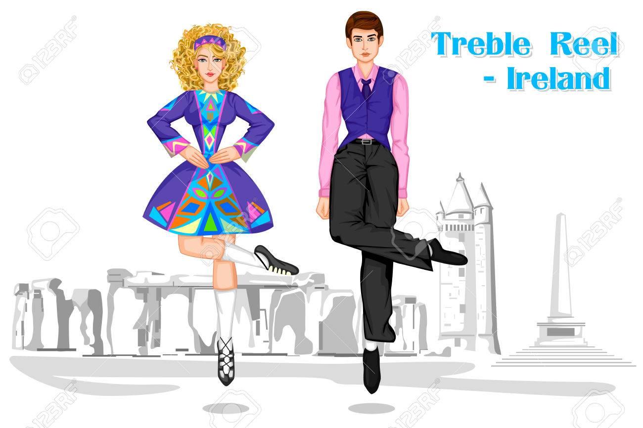 1300x866 Vector Design Irish Couple Performing Treble Reel Dance