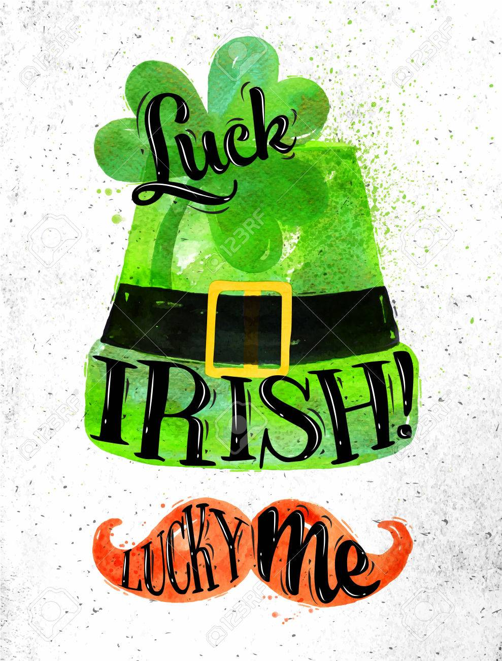 989x1300 Poster St Patrick Lettering Luck Irish Luck Me Drawing In Vintage