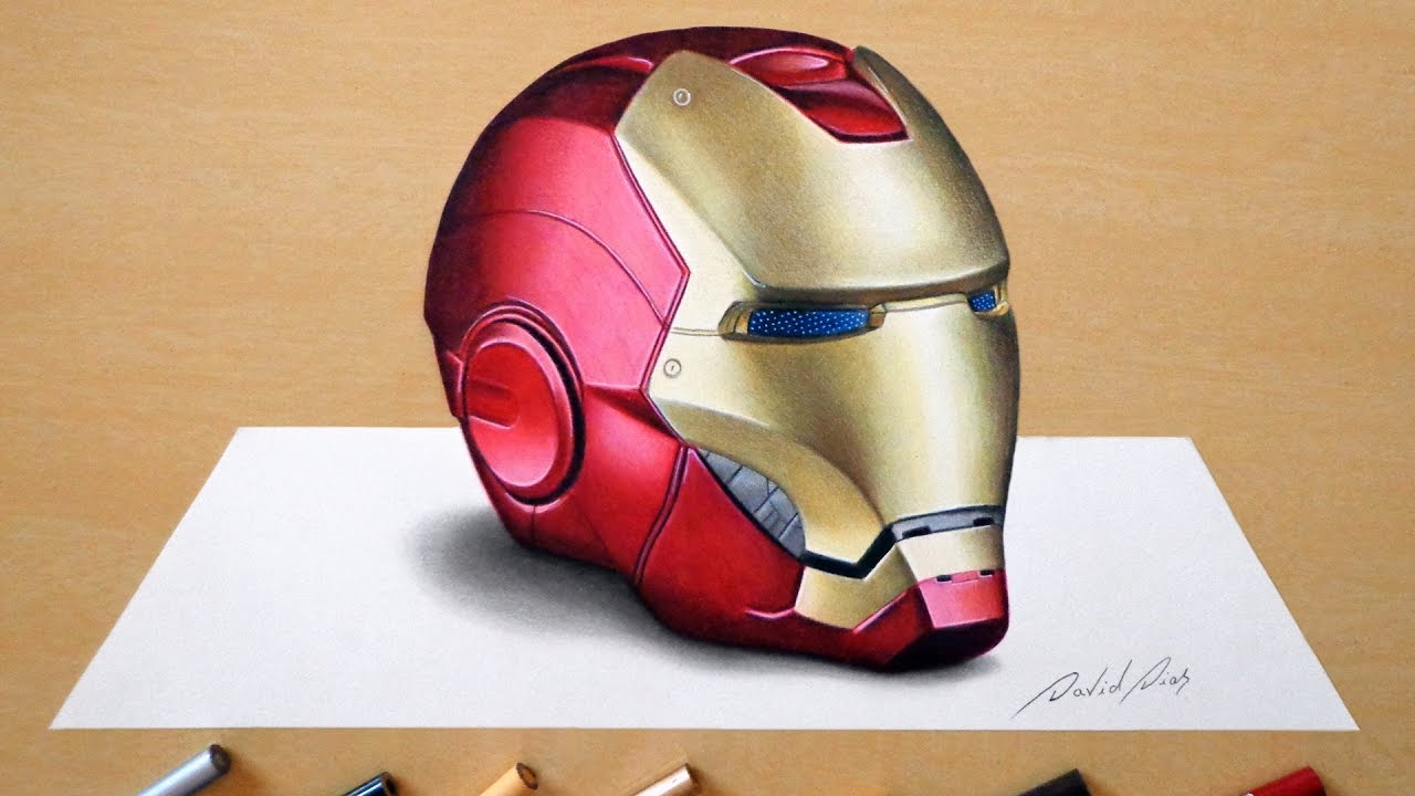 1280x720 3d Drawing Iron Man's Helmet