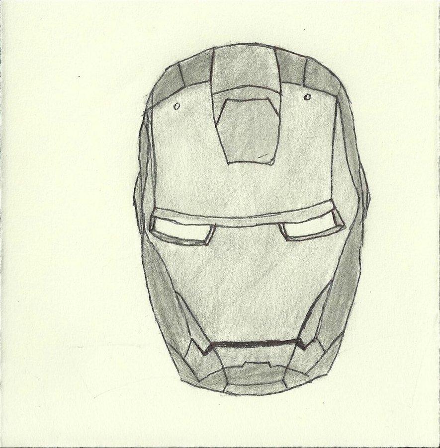 885x902 Iron Man Helmet B w Sketch By Mewmewgirl123