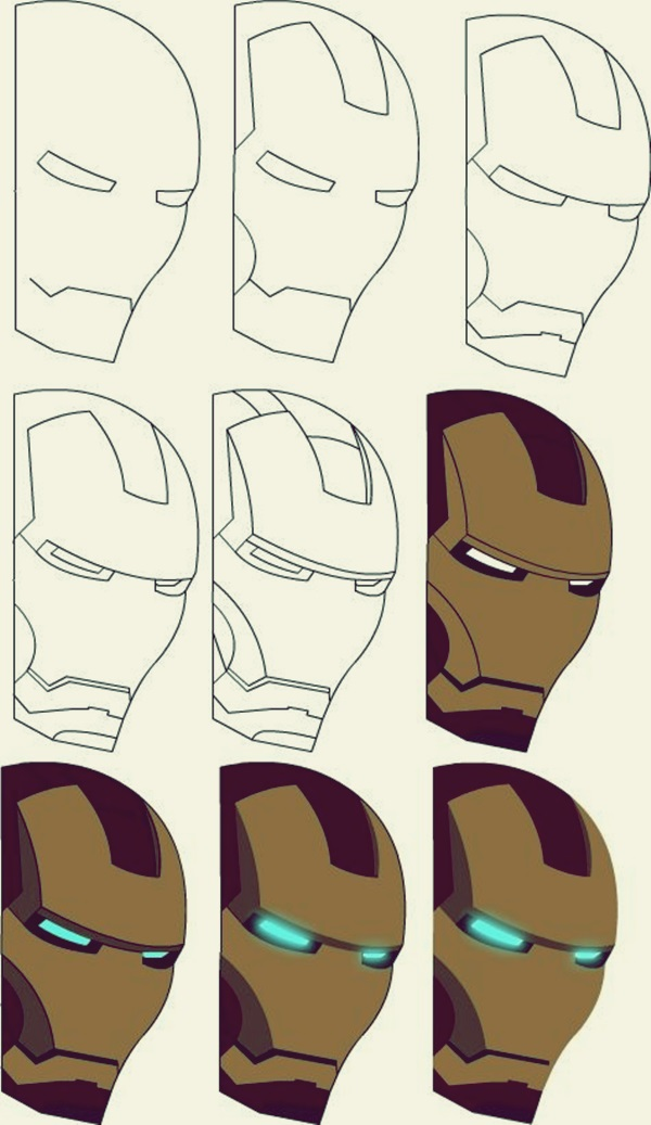 600x1037 How To Draw Iron Man 10 Step By Step Examples