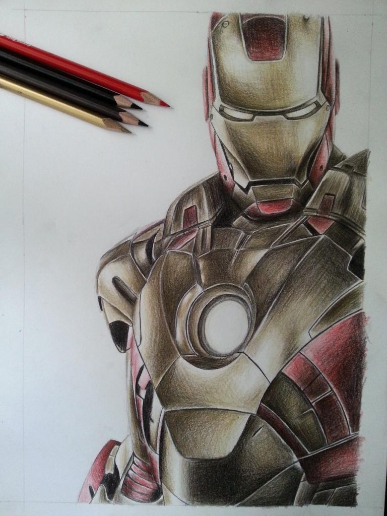 768x1024 Iron Man Pencil Drawing