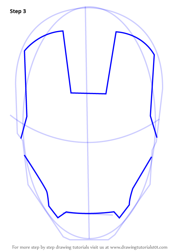600x846 Learn How To Draw Iron Man's Helmet (Iron Man) Step By Step