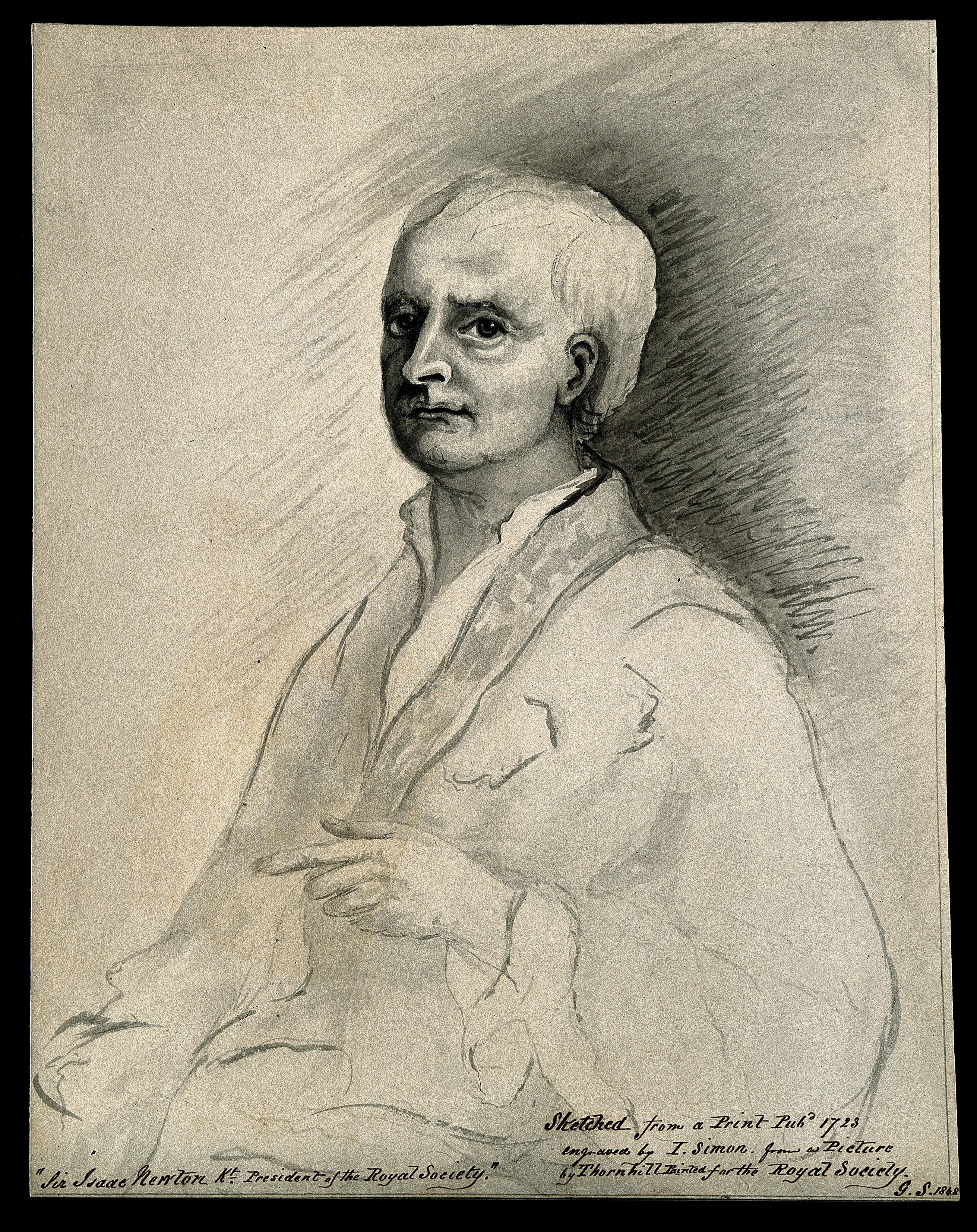2622x3307 Filesir Isaac Newton. Wash Drawing By (G. S.), 1848, After J. Si