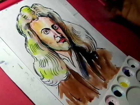 480x360 How To Draw Isaac Newton Color Drawing For Kids