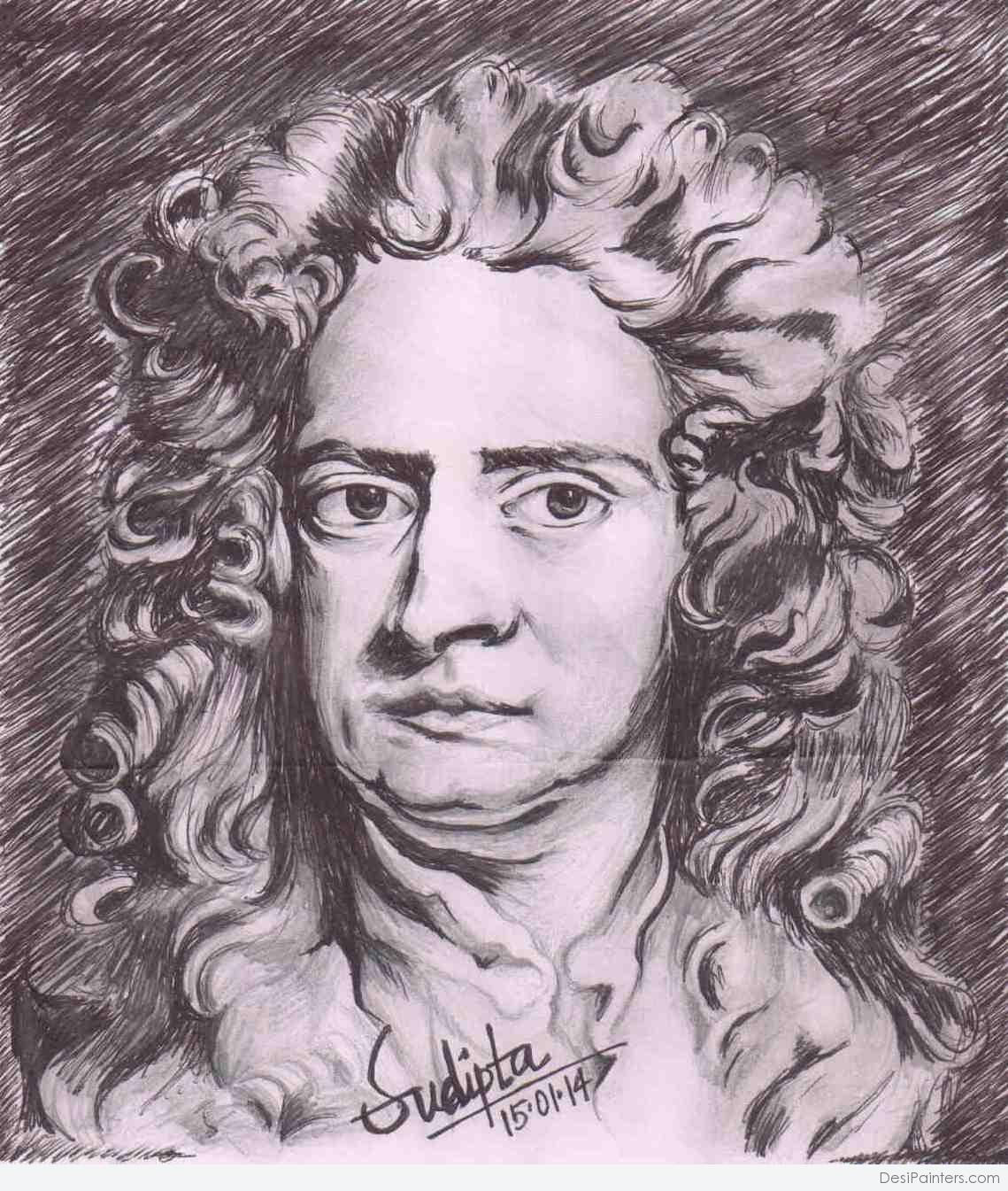 1139x1345 Pencil Sketch Of Isaac Newton
