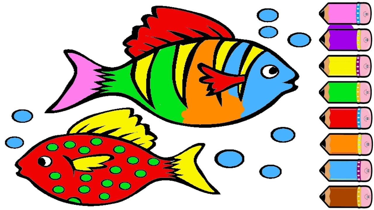 1280x720 How To Draw Fish And Coloring Page