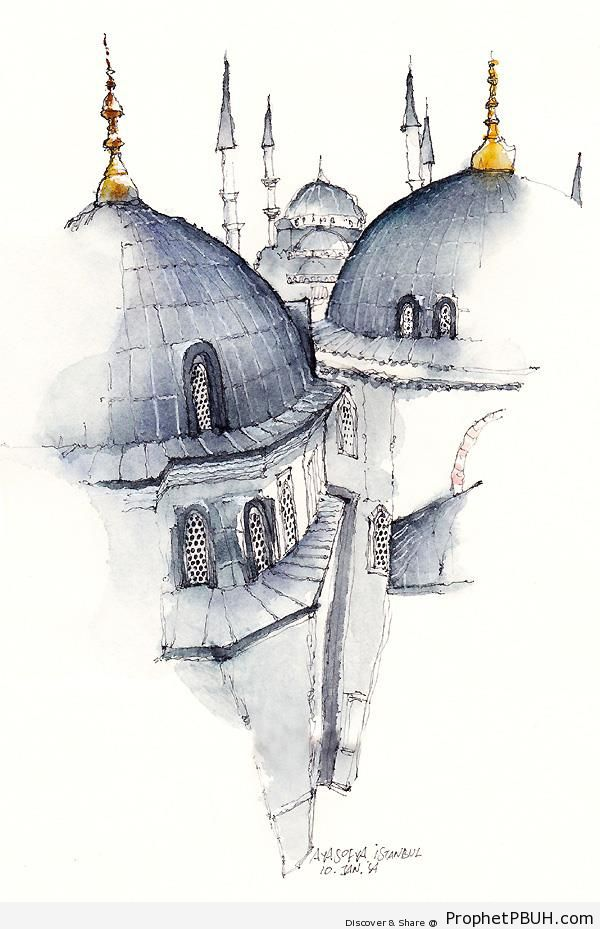 600x929 Istanbul (Drawing) Islamic Architecture Prophet Pbuh (Peace Be