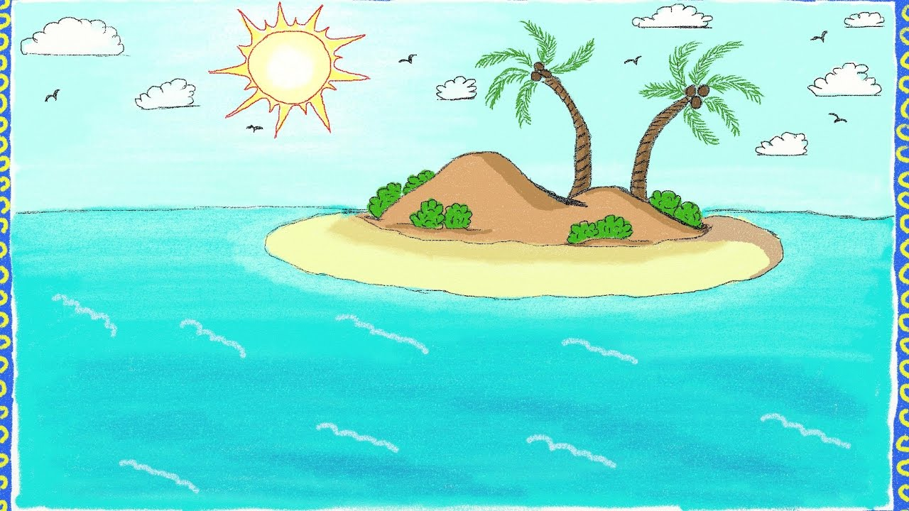 1280x720 Drawing A Simple Island How To Draw An Island Drawing For Kids