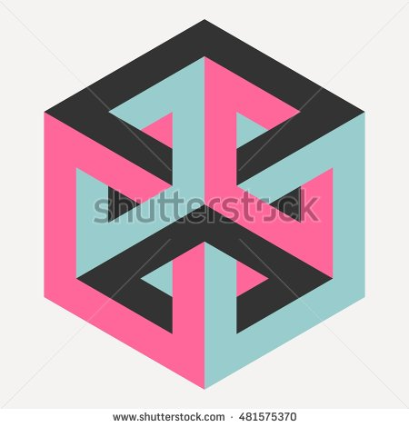 450x470 Impossible Cube, Isometric Drawing, Vector Illustration Logo