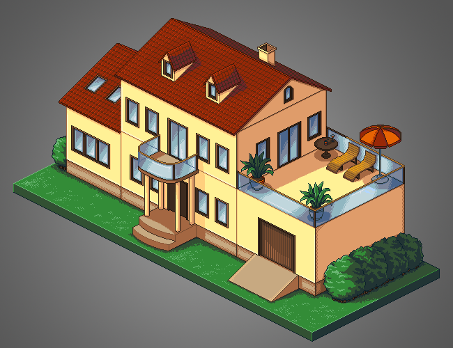 650x500 Isometric Pixel House By Ali Cian