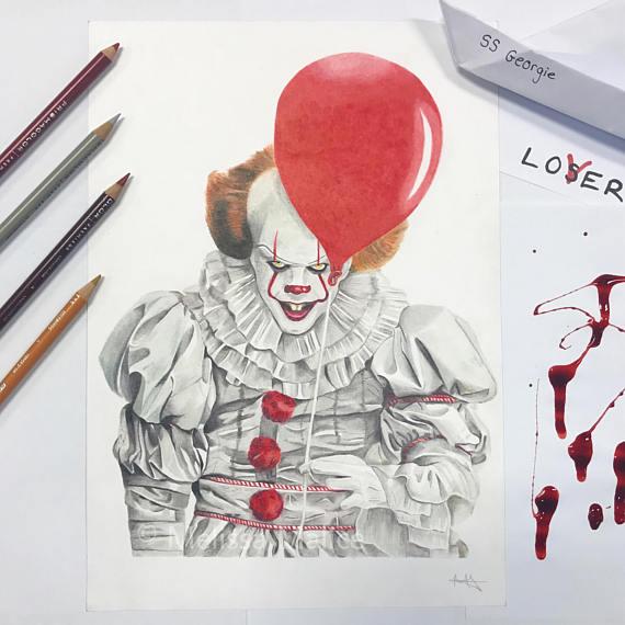 570x570 Original Pennywise The Clown Bill Skarsgard Drawing