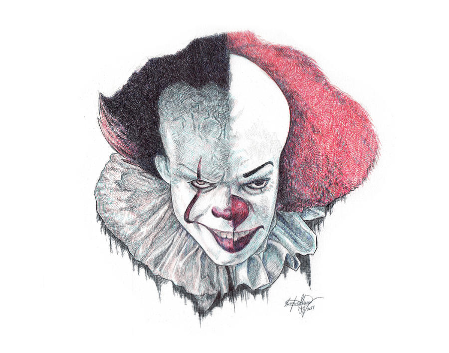 900x707 Pennywise The Clown Drawing By Serafin Ureno
