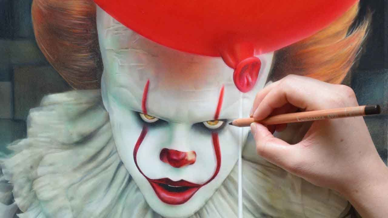 1280x720 Drawing It Pennywise (2017)
