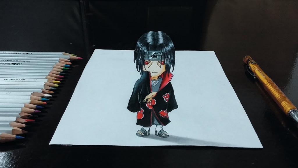 1024x576 3d Naruto Drawing Desenhando Itachi Uchiha Chibi Naruto Shippuden