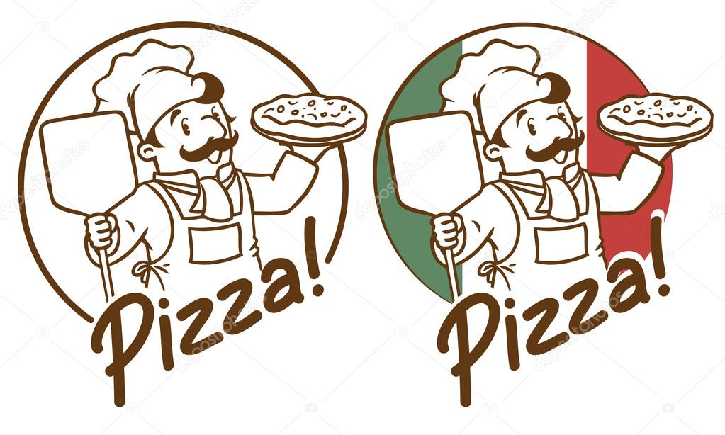 1023x614 Emblem Of Funny Cook Or Baker With Pizza Stock Vector