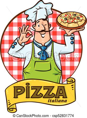 345x470 Funny Italian Chef With Pizza. Emblem Design. Chef With Vectors