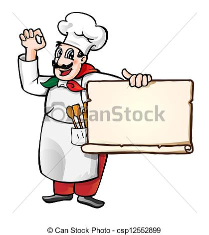 419x470 Illustration Of A Cartoon Italian Chef With Banner Eps Vectors