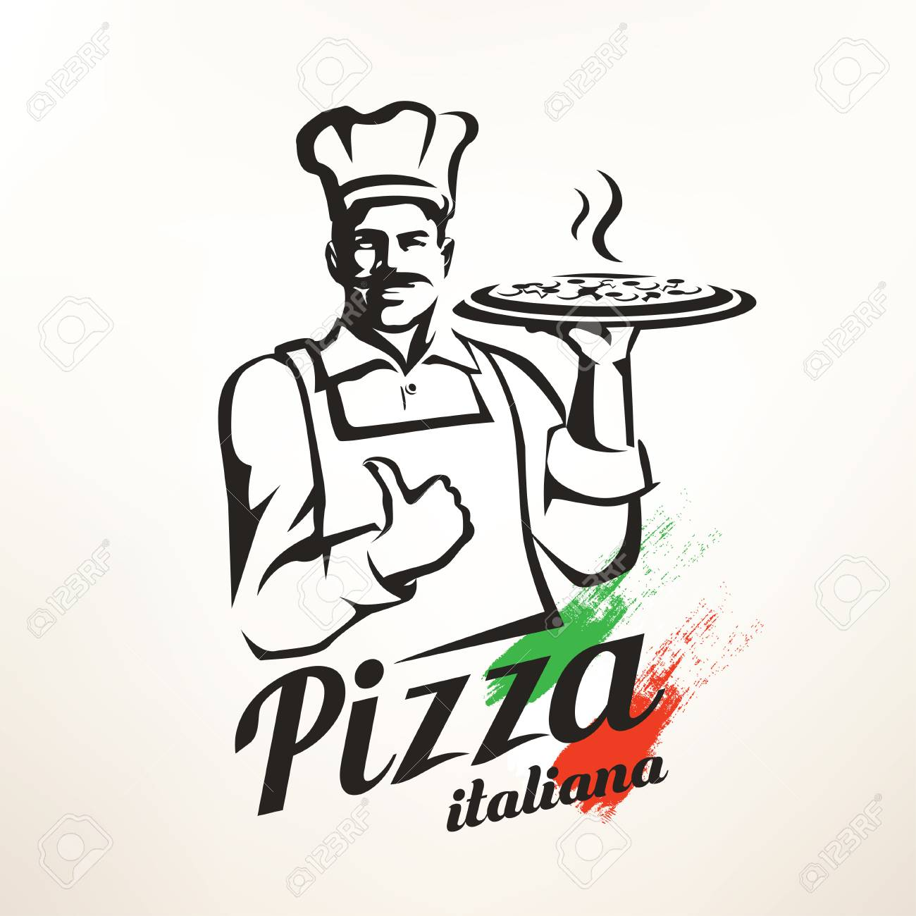 1300x1300 Italian Chef Holding Pizza, Stylized Vector Silhouette Royalty