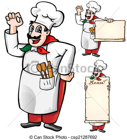 427x470 Italian Chef Set Isolated On White Background Eps Vectors
