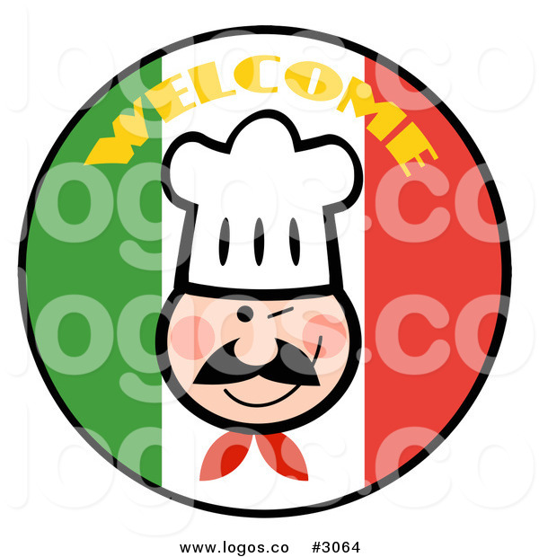600x620 Royalty Free Vector Of A Welcome Italian Chef Logo By Hit Toon