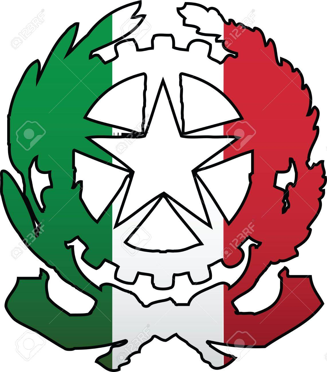 1142x1300 Italian Flag And Symbol Composition Royalty Free Cliparts, Vectors