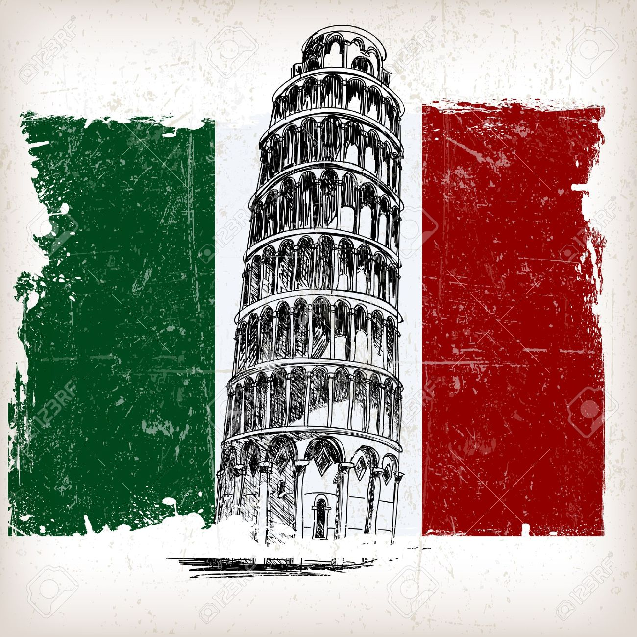 1300x1300 Leaning Tower Of Pisa On Italian Flag With Grunge Effect Royalty