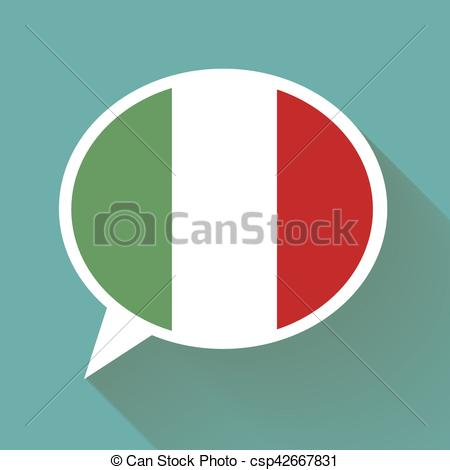 450x470 White Speech Bubble With Italian Flag And Long Shadow