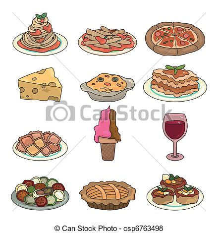 440x470 Cartoon Italian Food Icon Set Vector