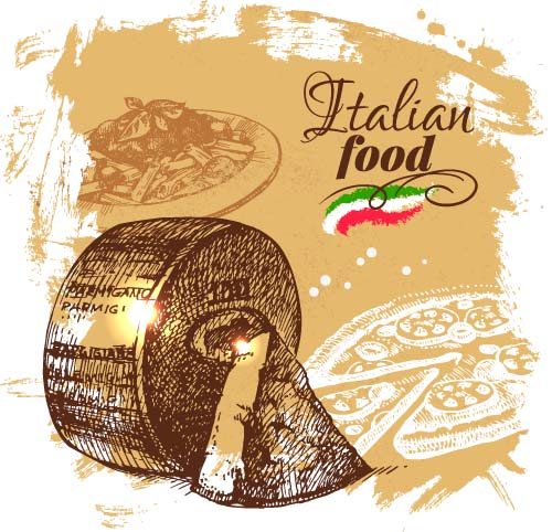 500x482 Hand Drawn Italian Food Design Vector Material 05