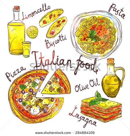 450x470 Italian Food, Hand Drawn Watercolor Illustration With Pizza, Pasta