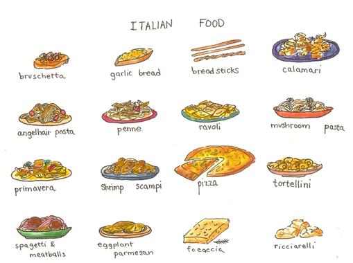 509x380 Italian Food I Illustrated Menus Food