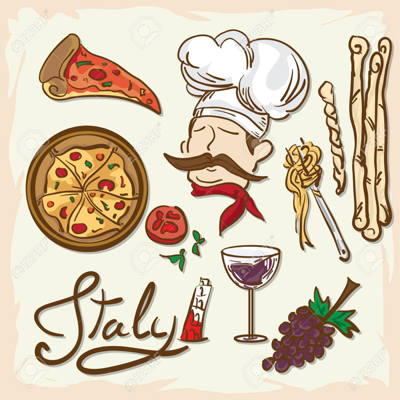 1300x1300 Italian Foods Drawing Graphic Design. Royalty Free Cliparts