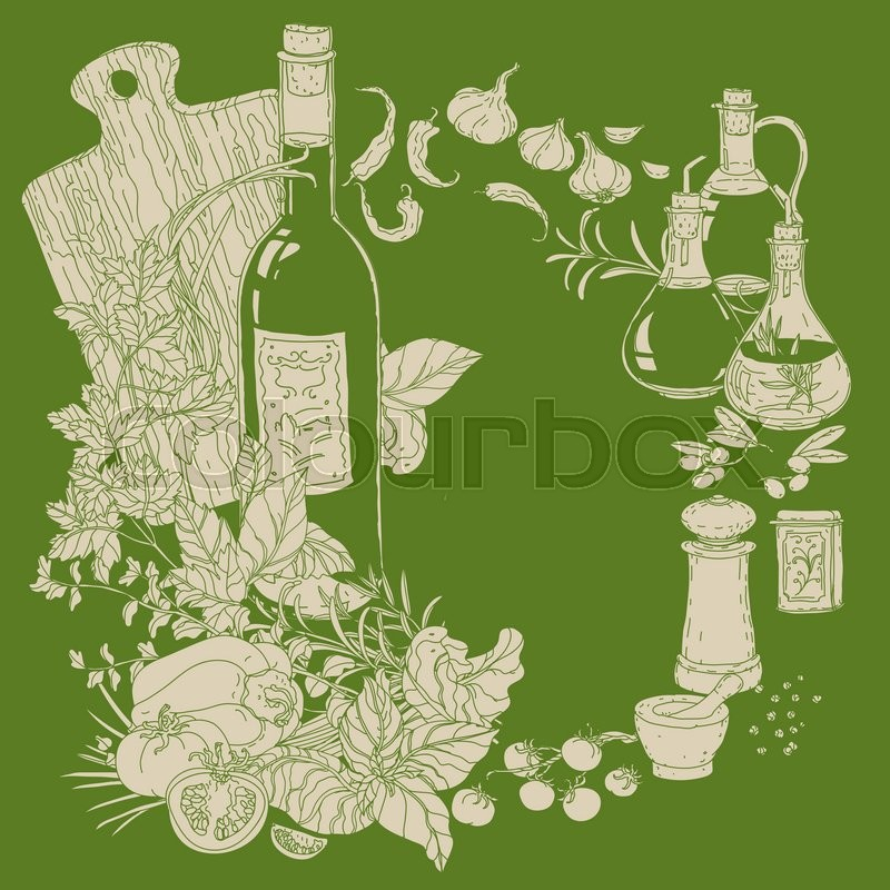 800x800 Wreath Of Vector Italian Cuisine Elements. Hand Drawn Silhouette