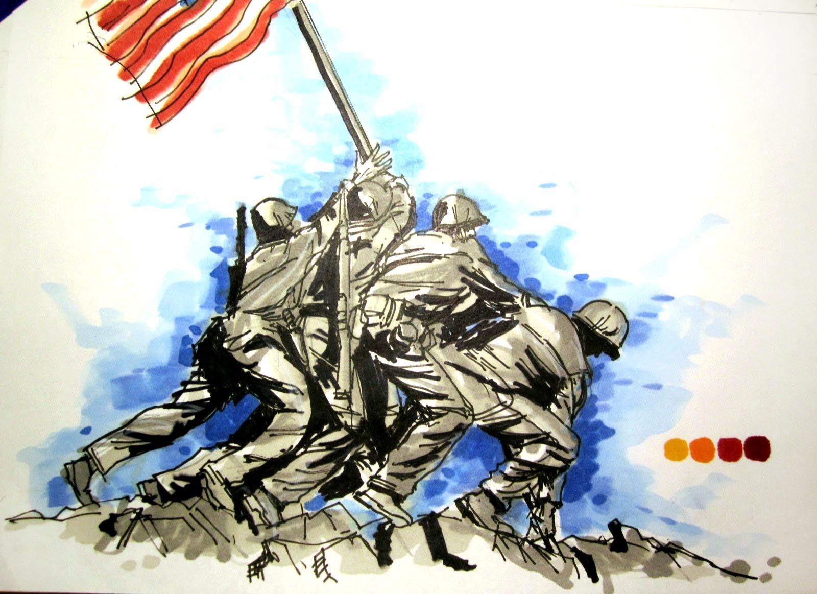 1600x1163 Military Series Battle Of Iwo Jima Time Lapse Drawing
